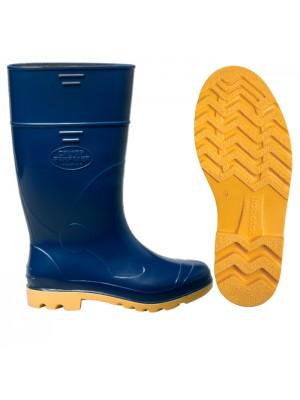 Bota em PVC Azul e Amarelo Cano Longo